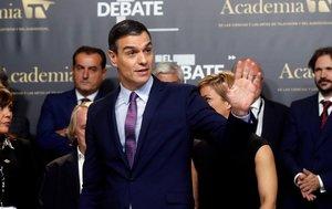 El líder del Partido Socialista, Pedro Sánchez, al finalizar el debate de ayer.