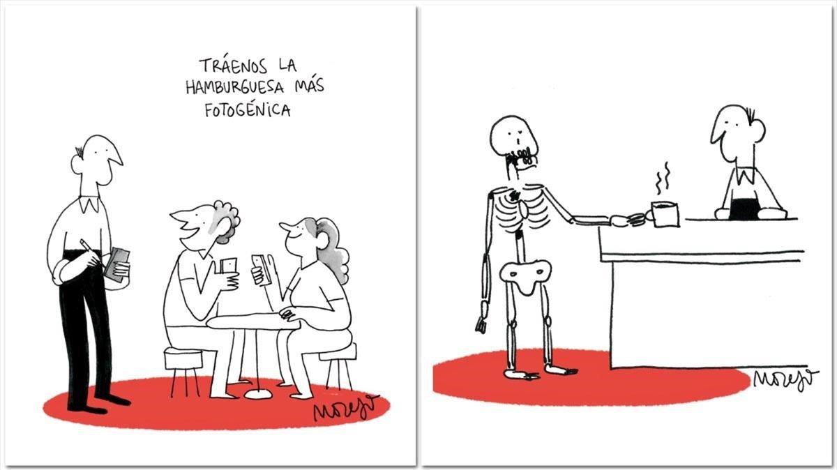 Dos viñetas de 'El típico bar', deSergi Moreso.