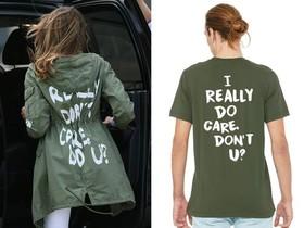 A la izquieda, Melania Trump con la polémica chaqueta. A la derecha, la gabardina con un mensaje solidariode una compañía de Portland.