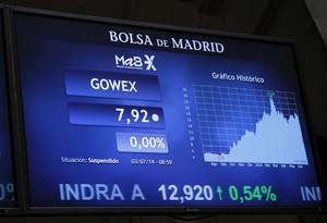 Panell del MAB on apareix sospesa la cotització de Gowex, dijous passat, a la Borsa de Madrid.