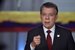 Colombias President Santos speaks during a presidential address in Bogota, Colombia