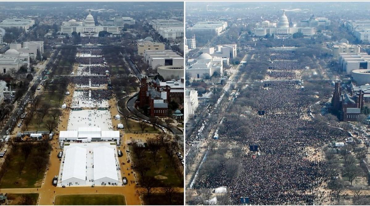 Público en la toma de posesión de Trump (izquierda) y en la de Obama en el 2009