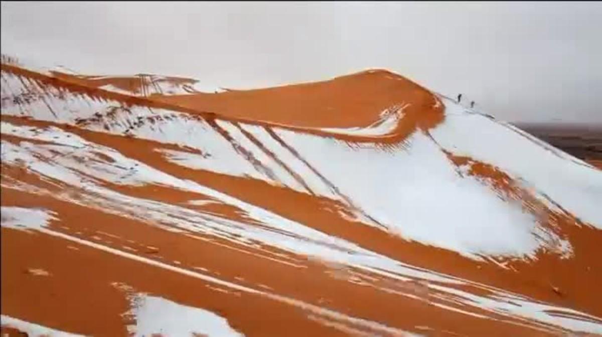Neva al Sàhara algerià per segona vegada en 50 anys