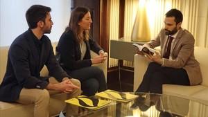 El presidente del Parlament, Roger Torrent, se ha reunido con la coordinadora de Amnistía Internacional Catalunya, Adriana Ribas.
