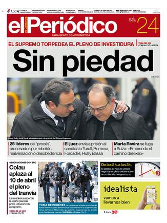 La portada de EL PERIÓDICO del 24 de marzo del 2017.