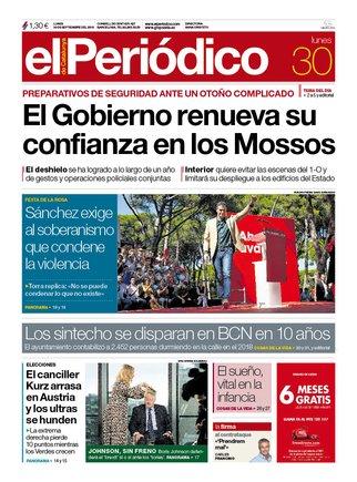 La portada d'EL PERIÓDICO del 30 de setembre del 2019