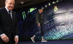 Florentino Pérez y Zinedine Zidane, el día del regreso del entrenador francés.