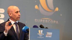 Luis Rubiales, presidente de la federación, en un acto celebrado en Yeda (Arabia Saudí).