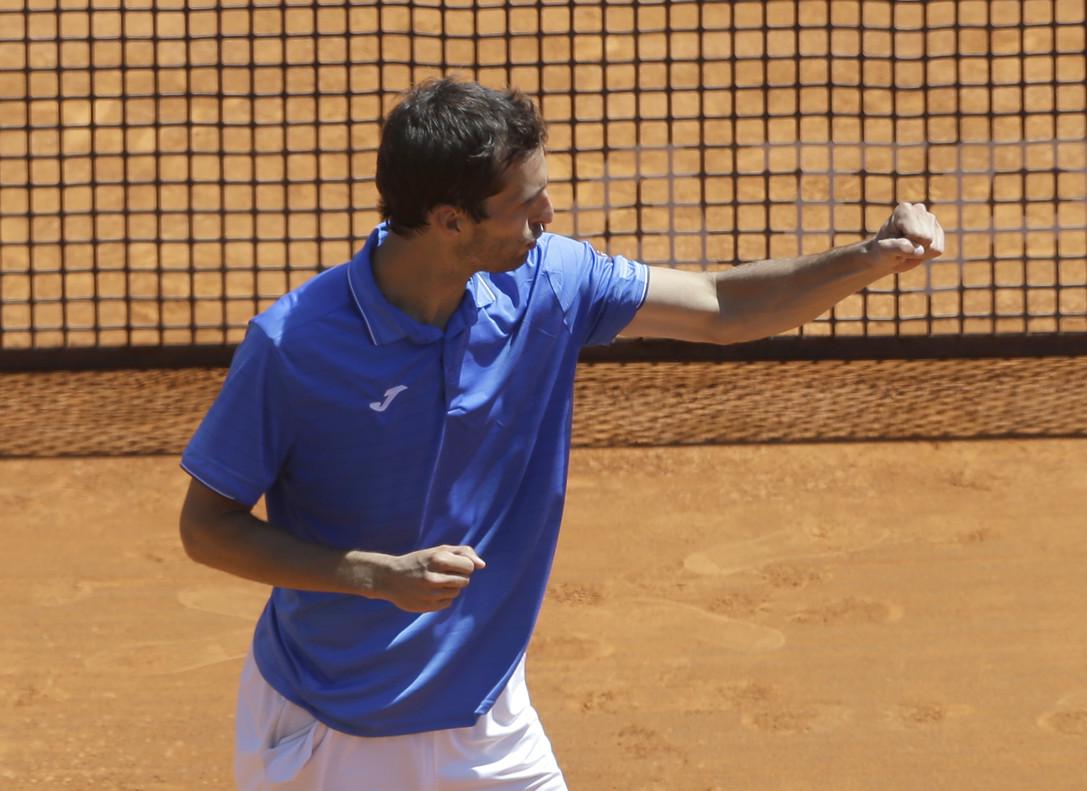 Albert Ramos celebra su triunfo sobre Marin Cilic en Montecarlo.