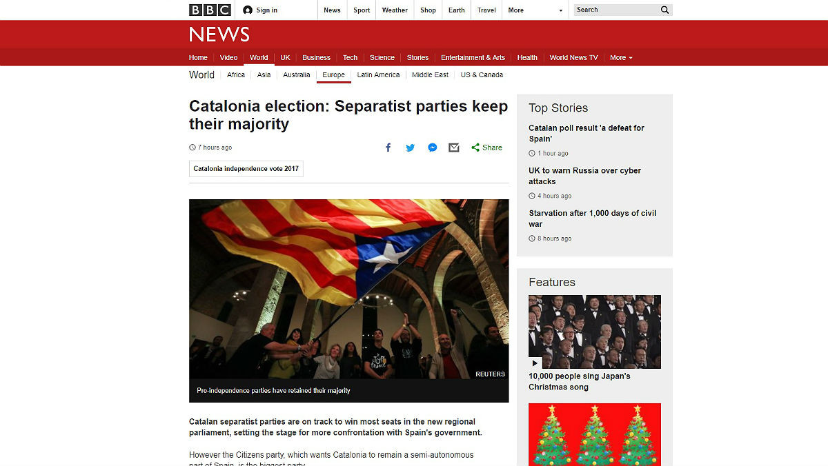 Información de la BBC sobre la victoria independentista en el 21-D.