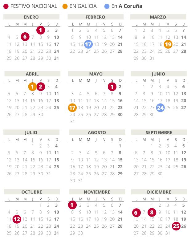 Calendario laboral de A Coruña del 2021.