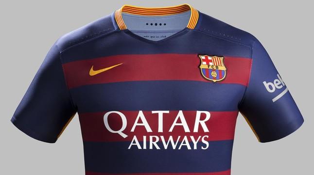La camiseta del Barça para la temporada 2015-2016, de Nike, con el patrocinio de Qatar Airways.