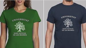 Camisetas de la inexistente Universidad de Sant Esteve de les Roures, pueblo creado por la Guardia Civil.