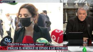 Ferreras 'corta' a Díaz Ayuso por sus críticas al gobierno en el homenaje a las víctimas del coronavirus