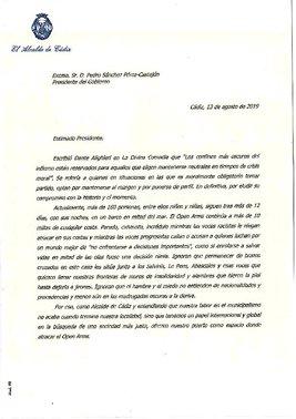 Carta del alcalde de Cádiz.