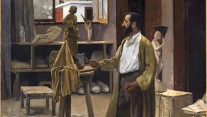 'Enric Clarasó en su taller' (el lugar del primer Cau Ferrat), de Rusiñol, es una de las obras destacadas de la muestra.