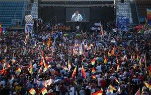 Un acto masivo de Evo Morales en Argentina.