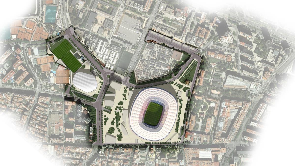 Imágen virtual del futuro Espai Barça.