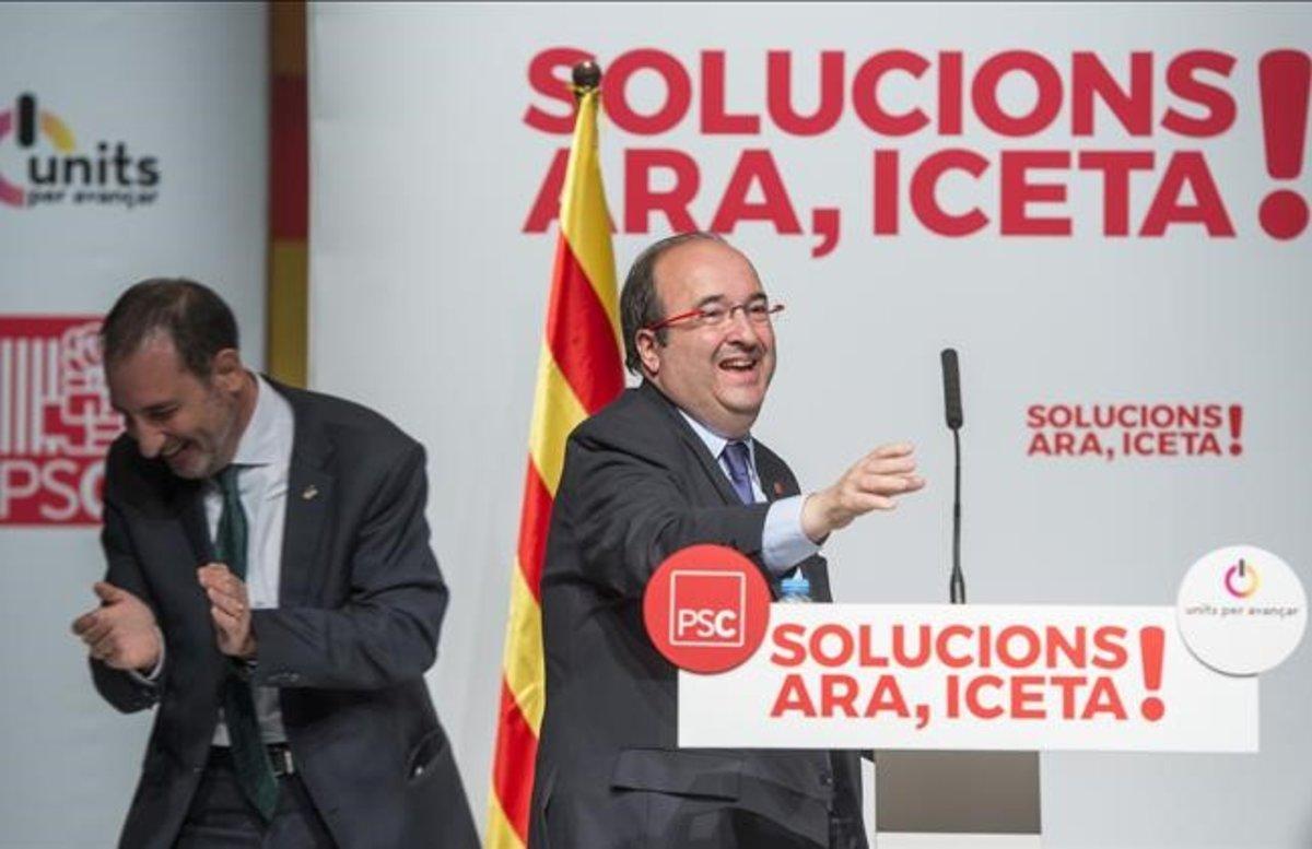 El primer secretario del PSC, Miquel Iceta, y el dirigente de Units per Avançar, Ramon Espadaler, en un acto electoral durante la campaña del 21-D del 2017.