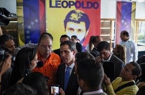 Juan Guaidó en un acto con motivo de la detención de opositorLeopoldo López, actualmentepreso.