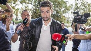 El exjugador del Zaragoza Gabi Fernández a su llegada a la Ciudad de la Justicia de Valencia, este miércoles 4 de septiembre