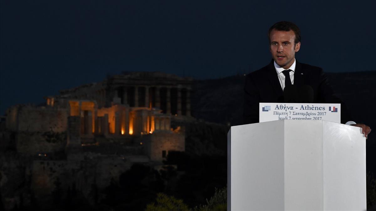 Macron interviene en un evento en la colina de Pnyx, en Atenas, el 7 de septiembre.