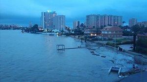 La Manga del Mar Menor tras la tormenta.