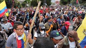 Manifestación contra el presidente de Ecuador, Lenín Moreno, este martes en Quito.