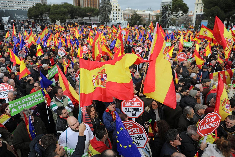 Manifestación de las derechas en la plaza de Colón de Madrid