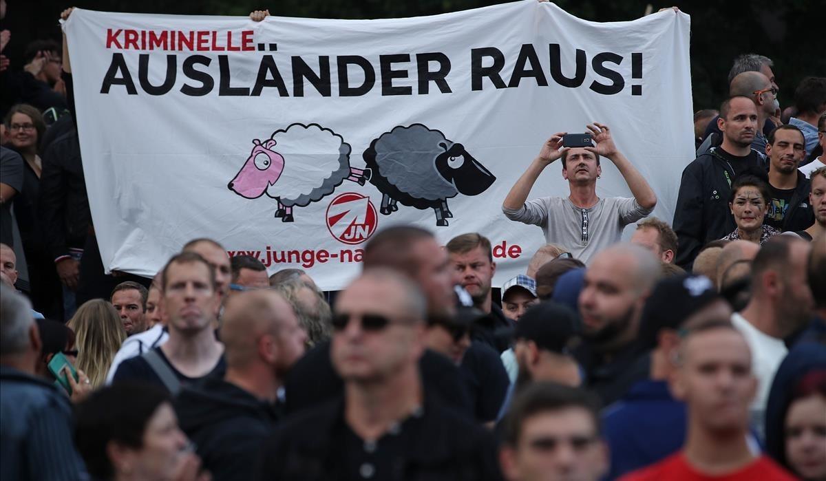 Manifestación de ultraderecha contra los extranjeros en Chemnitz.