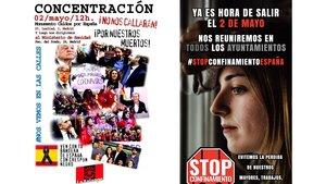 Convocatorias de la Falange y el movimiento Stop Confinamiento para salir a las calles el sábado 2 de mayo.