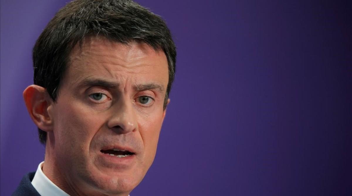 El exprimer ministro francés, Manuel Valls, en una conferencia de prensa.