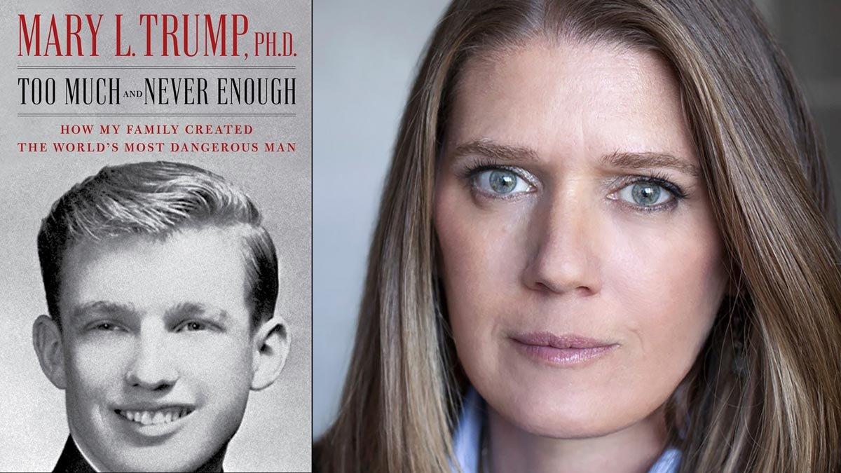 Mary Trump, junto a una portada del libro que ha escrito sobre su tío.