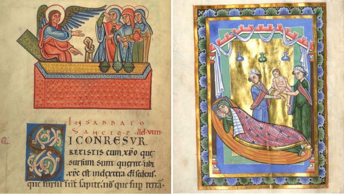 Ilustraciones de la época en las que se aprecian trazos de lapislázuli