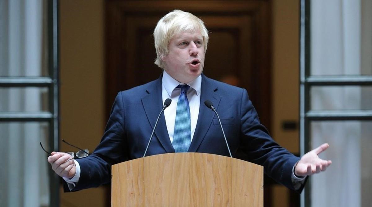 El Ministro de Asuntos Exteriores británico, Boris Johnson, en una comparecencia ante los medios.