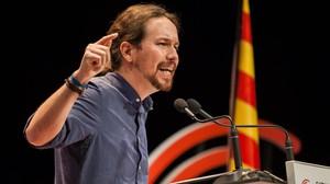 Pablo Iglesias, en un acto de la campaña de las elecciones catalanas del 21-D.