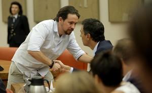 Pablo Iglesias y Pedro Sánchez, el pasado agosto en el Congreso.