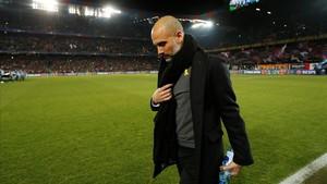 Pep Guardiola, antes del Basilea-Manchester City de Champions.