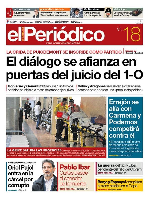 La portada de EL PERIÓDICO del 18 de enero del 2019