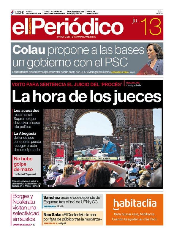 Portada de EL PERIÓDICO del 13 de junio del 2019.