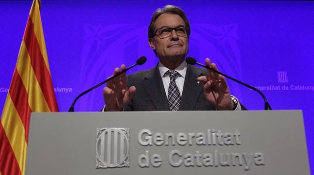 El 'president' Artur Mas, durante la rueda de prensa que ha ofrecito tras la reunión del Consell Executiu.