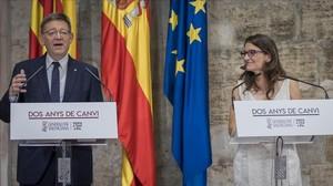 El presidente valenciano, Ximo Puig, y la vicepresidenta, Mónica Oltra.