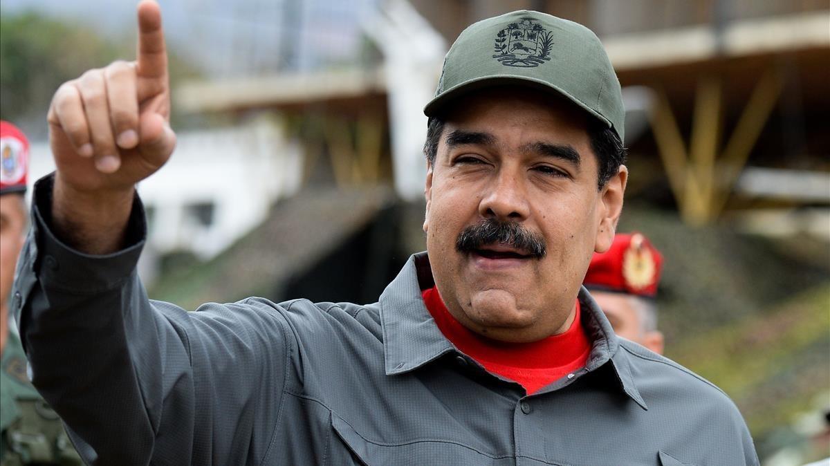 El presidente venezolano, Nicolás Maduro, en unos ejercicios militares el pasado 24 de febrero.