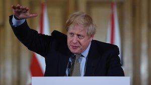 El primer ministro británico, Boris Johnson, en una rueda de prensa en Downing Street.