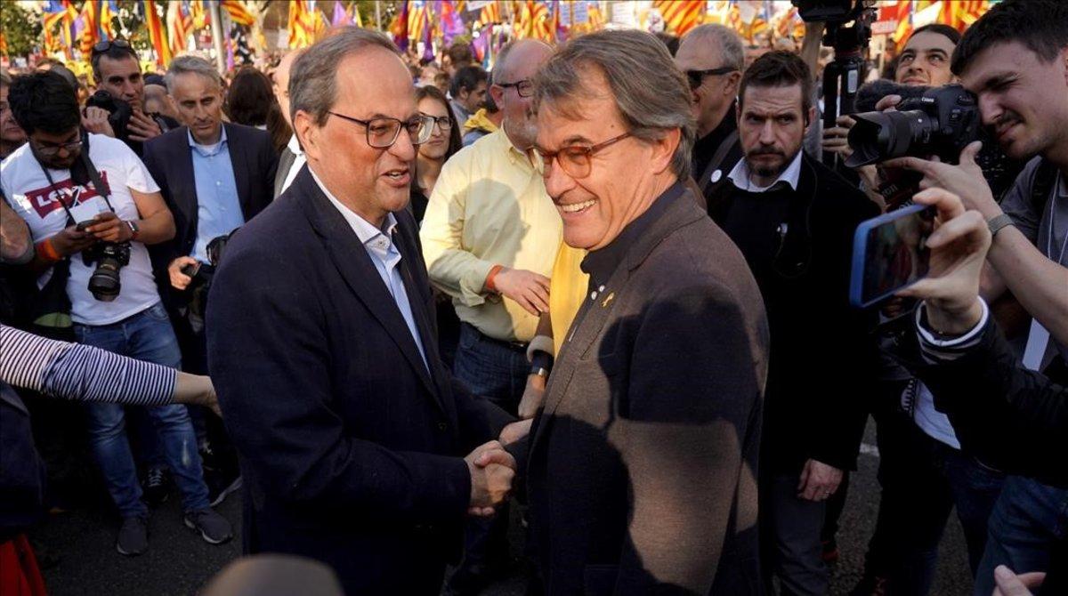 Quim Torra y Artur Mas, en la manifestación independentista de Madrid.