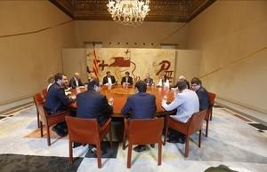 Reunión extraordinaria del Consell Executiu, este viernes, antes del anuncio de la fecha y pregunta del referéndum.