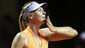 Sharapova, en un partido disputado en Roma.