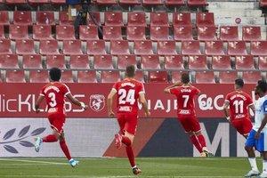 Stuani celebra el gol de la victoria del Girona ante el Zaragoza
