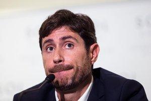 Víctor Sánchez del Amo, en la rueda de prensa tras ser destituido del Málaga.