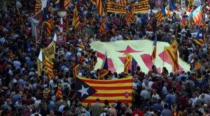 Vista general de la manifestación contra la sentencia del Tribunal Constitucional sobre el Estatut celebrada en Barcelona el 10 de julio del 2010.